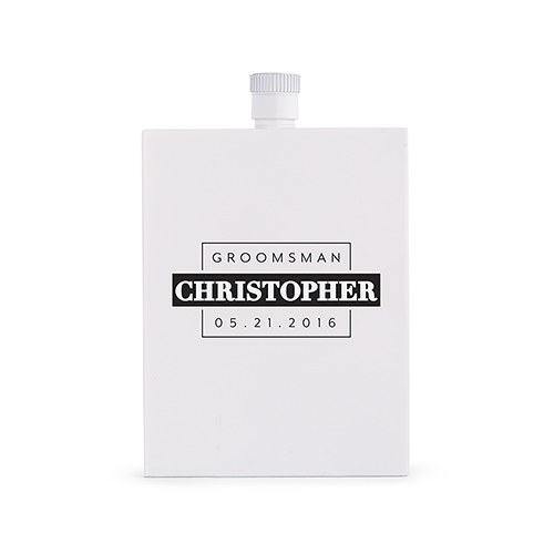 Personalized White Stainless Steel Hip Flask – Groomsman Monogram Print
