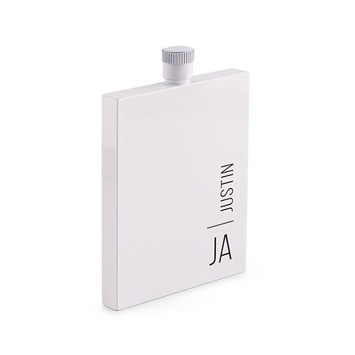 Personalized White Stainless Steel Hip Flask – Vertical Monogram Print