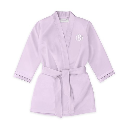 Personalized Flower Girl Satin Robe With Pockets- Lavender / Light Purple
