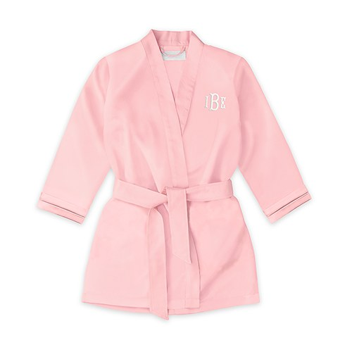 Personalized Flower Girl Satin Robe with Pockets- Light Pink