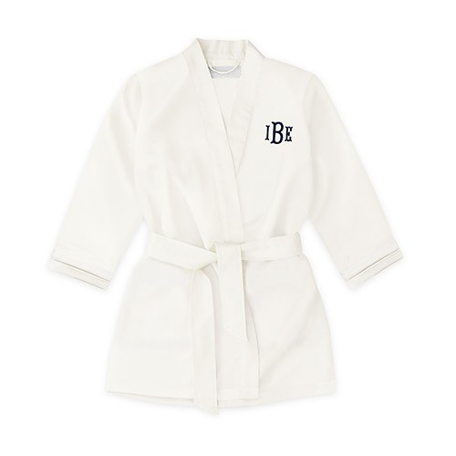 Personalized Flower Girl Satin Robe with Pockets- White