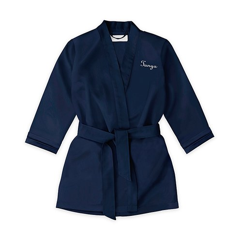 Personalized Flower Girl Satin Robe with Pockets- Navy
