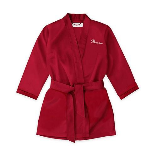 Personalized Flower Girl Satin Robe with Pockets- Ruby Red