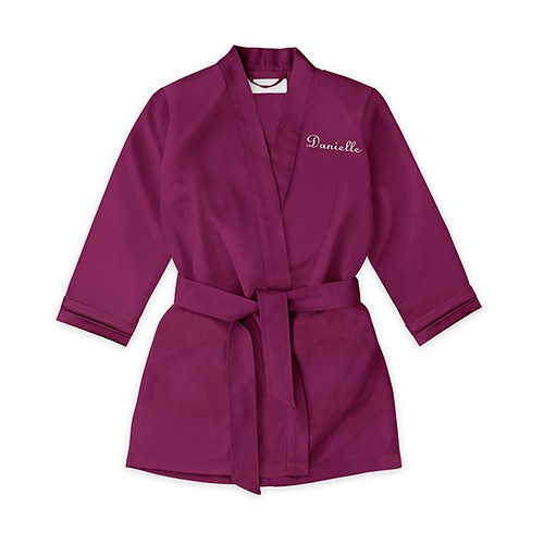 Personalized Flower Girl Satin Robe With Pockets - Plum Purple