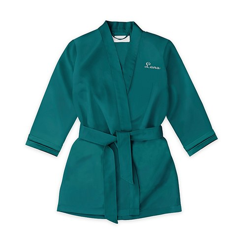 Personalized Flower Girl Satin Robe With Pockets - Hunter Green