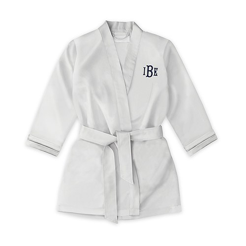Personalized Flower Girl Satin Robe with Pockets- Silver
