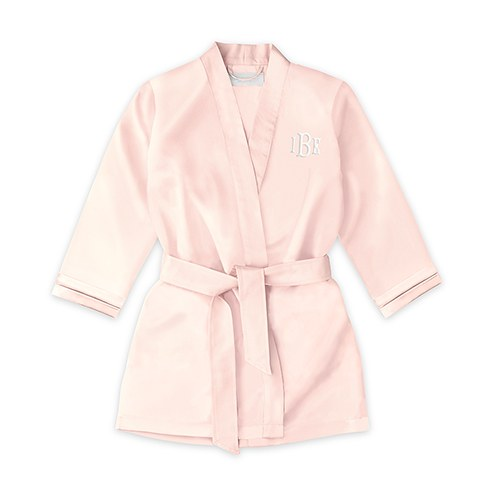 Personalized Flower Girl Satin Robe with Pockets- Blush Pink