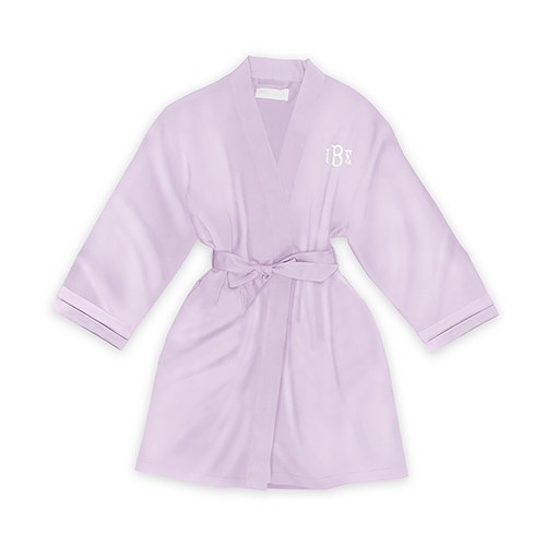 Personalized Junior Bridesmaid Satin Robe With Pockets- Lavender / Light Purple