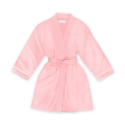 Personalized Junior Bridesmaid Satin Robe with Pockets- Light Pink