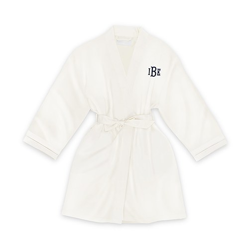 Personalized Junior Bridesmaid Satin Robe with Pockets- White