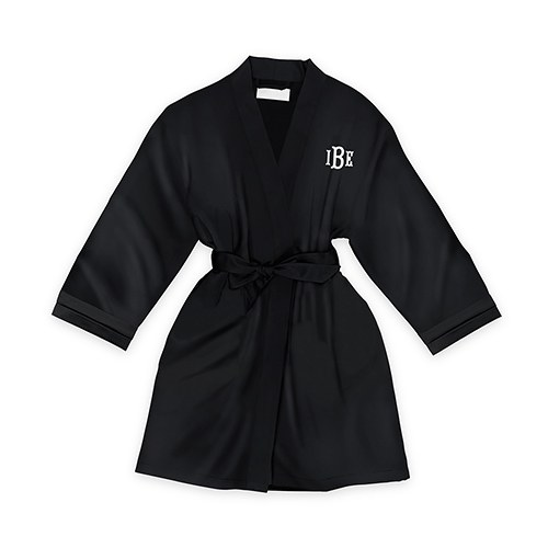 Personalized Junior Bridesmaid Satin Robe with Pockets- Black