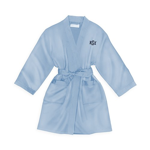 Personalized Junior Bridesmaid Satin Robe With Pockets - Perwinkle