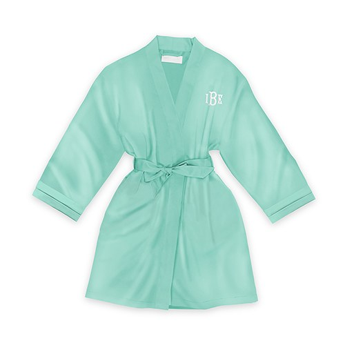Personalized Junior Bridesmaid Satin Robe with Pockets- Mint Green