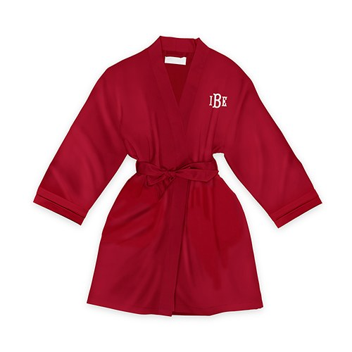 1233ab58ea Personalised Junior Bridesmaid Satin Robe with Pockets- Ruby Red -  Confetti.co.uk