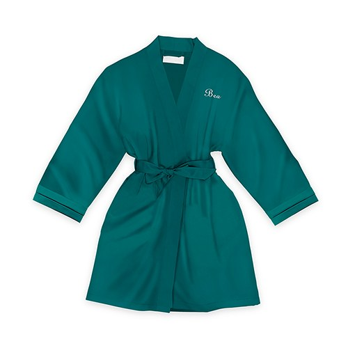 Personalized Junior Bridesmaid Satin Robe with Pockets- Hunter Green