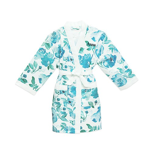 Personalized Flower Girl Satin Robe With Pockets - Light Blue & Mint Floral