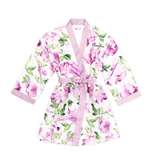 Personalized Junior Bridesmaid Satin Robe with Pockets- Lavender Floral