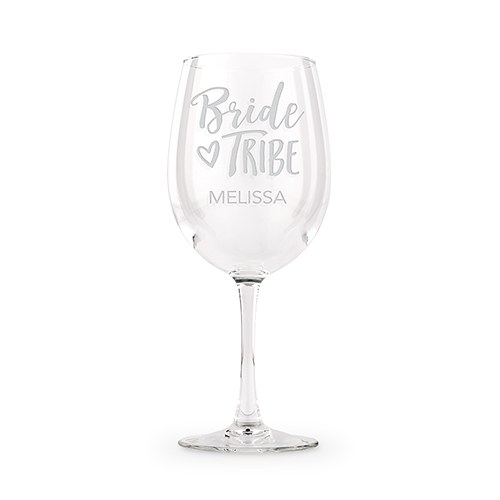 Large Personalized Stemmed Wine Glass – Bride Tribe Engraving