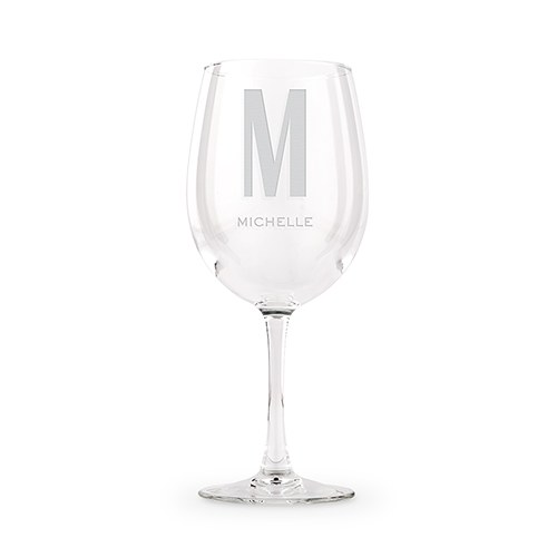 Large Personalized Stemmed Wine Glass – Sans Serif Monogram Engraving