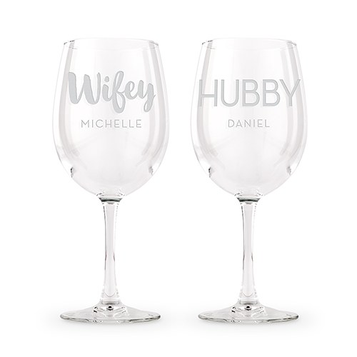 Large Personalized Stemmed Wine Glass Set – Wifey and Hubby Engraving