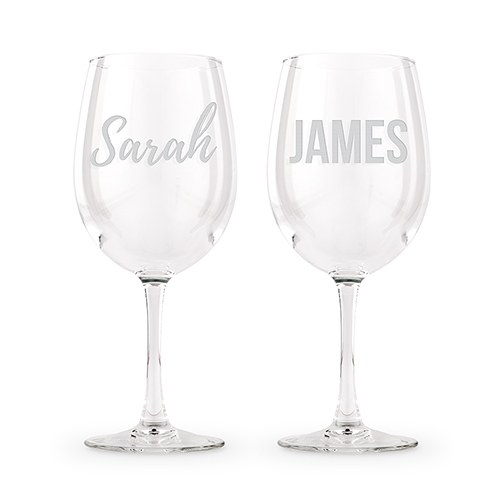 Large Personalized Stemmed Wine Glass Set – Monogram Engraving