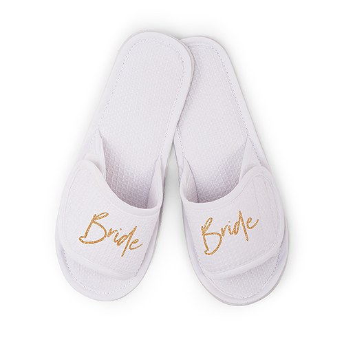 ab05d1346 Women s Cotton Waffle Spa Slippers - Bride - The Knot Shop