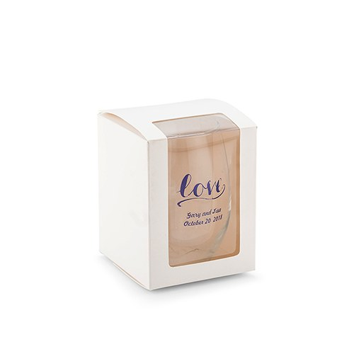 Small Stemless Wine Glass Gift Box with Clear Window - White