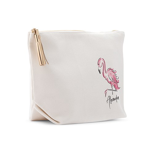 Personalized Canvas Makeup And Toiletry Bag For Women - Flamingo