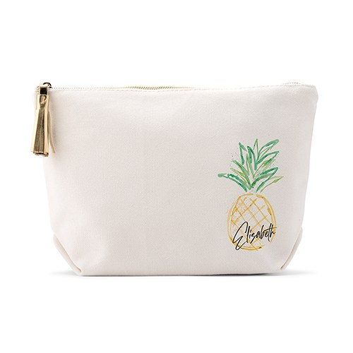 Personalized Canvas Makeup And Toiletry Bag For Women - Pineapple