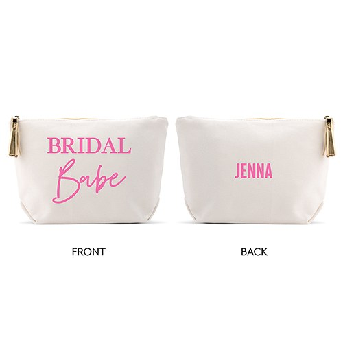 Personalized Canvas Makeup And Toiletry Bag For Women - Bridal Babe