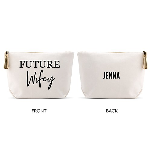 Personalized Canvas Makeup And Toiletry Bag For Women - Future Wifey