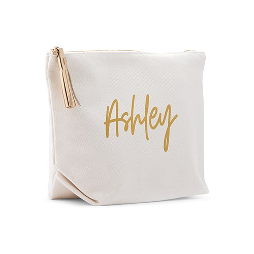 Personalized Canvas Makeup And Toiletry Bag For Women - Script Font