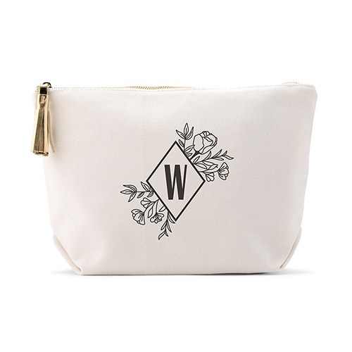 Personalized Canvas Makeup And Toiletry Bag For Women - Floral Monogram