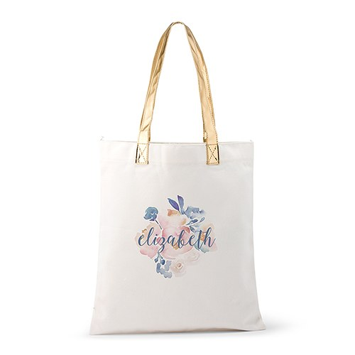 09482bb21d Personalized Cotton Canvas Fabric Tote Bag With Gold Strap - Floral Garden  Party