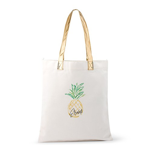 Personalized Cotton Canvas Fabric Tote Bag With Gold Strap - Pineapple