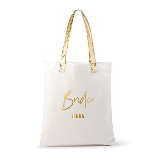 Personalized Cotton Canvas Fabric Tote Bag With Gold Strap - Bride