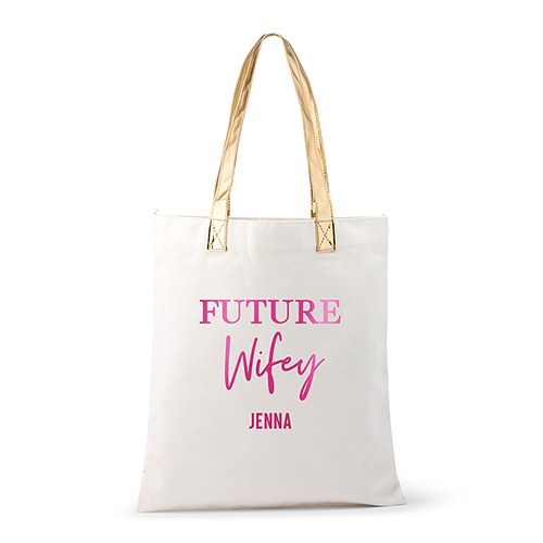 Personalized Cotton Canvas Fabric Tote Bag With Gold Strap - Future Wifey