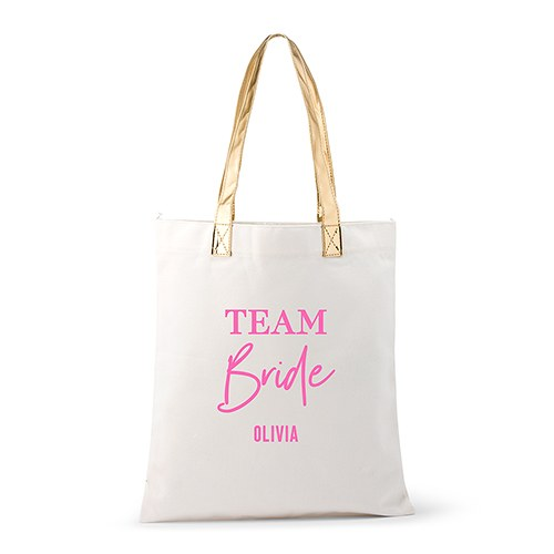 Personalized Cotton Canvas Fabric Tote Bag With Gold Strap - Team Bride