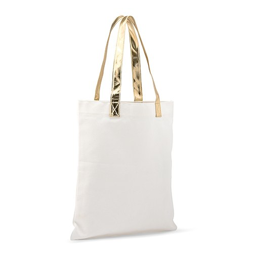 Cotton Canvas Fabric Tote Bag With Gold Strap