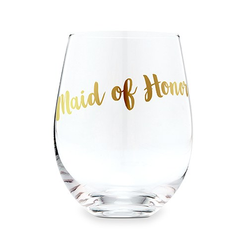 Stemless Toasting Wine Glass Gift for Wedding Party - Maid of Honor