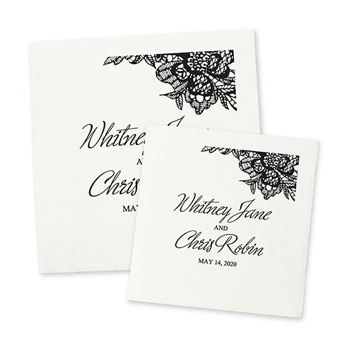 Personalized Color Printed Wedding Napkins - Lace Medley