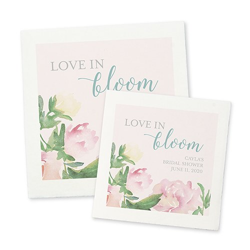 Personalized Color Printed Wedding Napkins - Garden Party