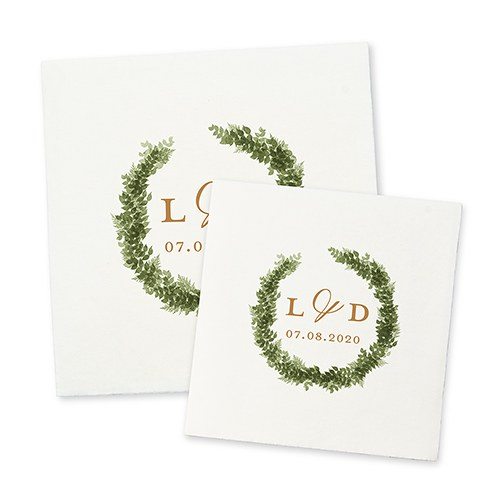 Personalized Color Printed Wedding Napkins - Love Wreath