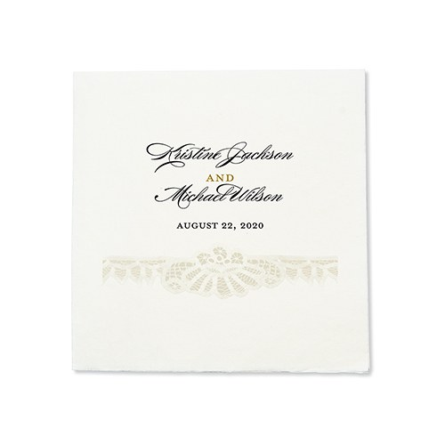 Personalized Color Printed Wedding Napkins - Vintage Lace
