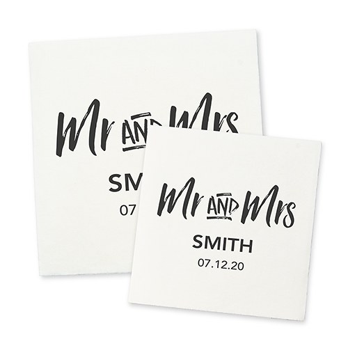 Personalized Color Printed Wedding Napkins - Mr and Mrs
