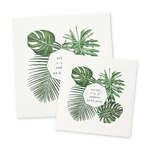 Personalized Color Printed Wedding Napkins - Tropical Greenery