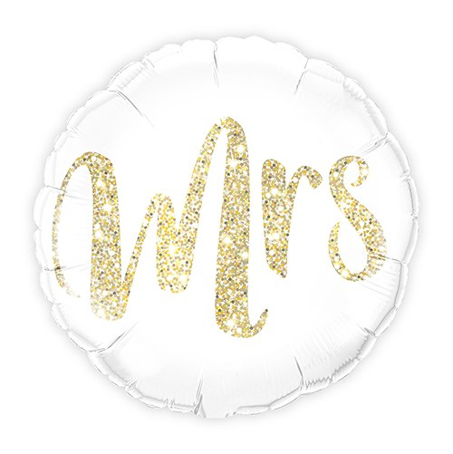 Mylar Foil Helium Party Balloon Wedding Decoration - White with Gold Mrs. Glitter