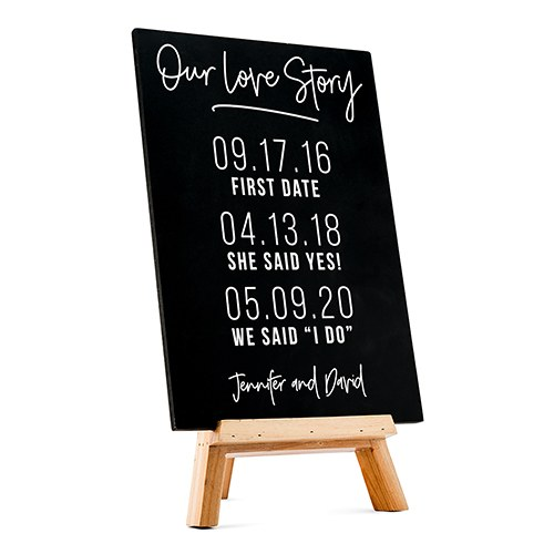 Custom Wedding Chalkboard Sign - Love Story Dates