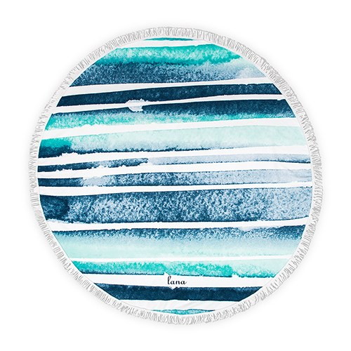 Personalized Round Beach Towel - Blue and White Striped Pattern