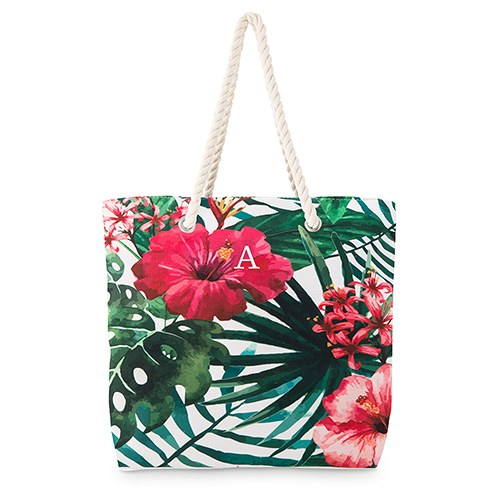 Large Personalized Cotton Canvas Fabric Beach Tote Bag - Tropical Hibiscus